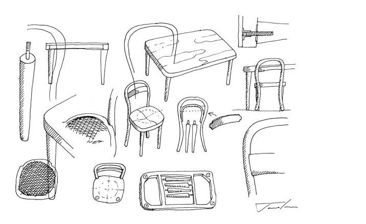 Muji fabricado por Thonet Bocetos James Irvineclass=