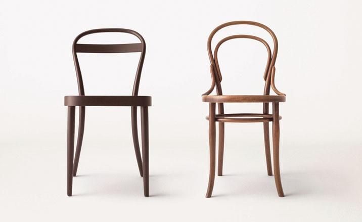 Silla diseñada por James Irvine junto a la clásica Thonetclass=