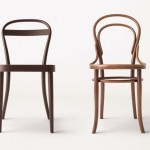 Silla diseñada por James Irvine junto a la clásica Thonet