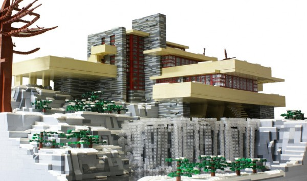 La casa de la cascada de frank lloyd wright hecha con for Casa moderna lego