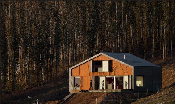 Casa cedeira en galicia de mycc prefabricada sostenible for Casas prefabricadas galicia