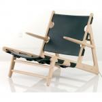 Butaca Hunting de estructura en madera de roble, asiento y respaldo en cuero, diseño de Borge Mogensen (1950) para Fredericia