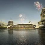 Detalle del estadio de fútbol, que tendrá uno de sus laterales abierto al mar. Foto: Real Madrid