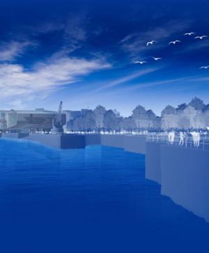 Recreación virtual de la primera línea de mar de Santander, con el futuro Centro Botín al fondo. Foto Fundación Botín