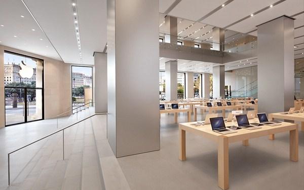 interior apple store en barelona paseo de gracia diariodesign