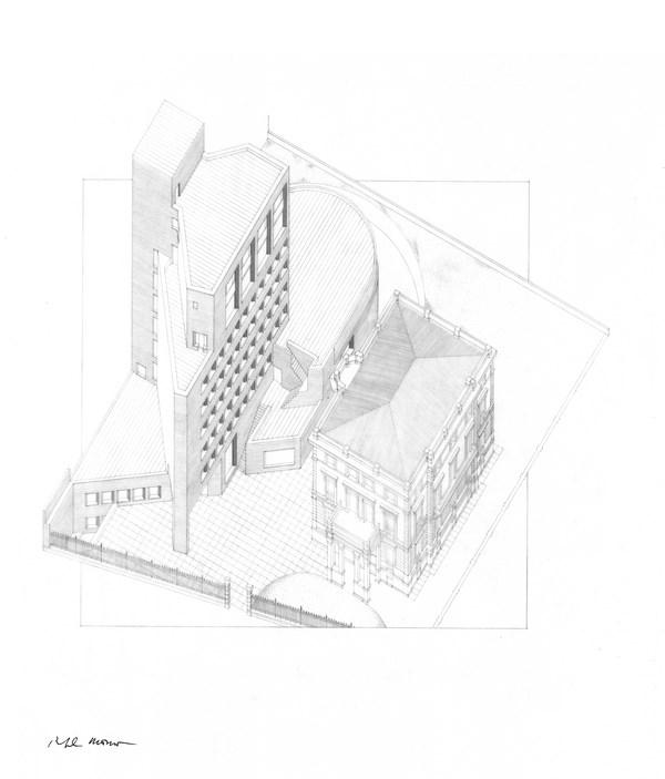 10 Sede de Bankinter, Madrid, 1973-1977_Lápiz sobre papel _ Rafael Moneo_Cortesía Fundación Barrié