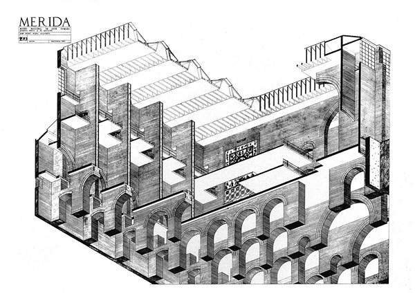 11 MERIDA_Axonometria seccionada Mérida