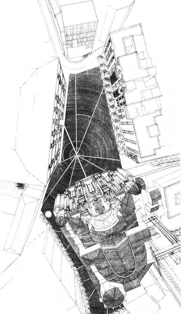14 Ampliación del Ayuntamiento de Murcia, 1991-1998_Tinta sobre papel _ Rafael Moneo_Cortesía Fundación Barrié