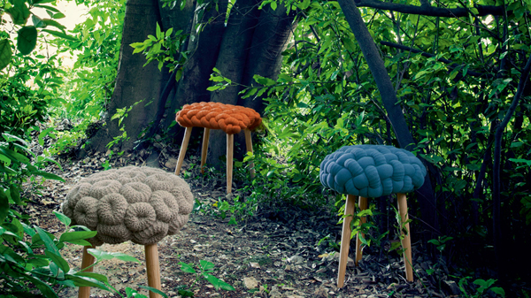 Gan Rugs 2014 knitted wool stool