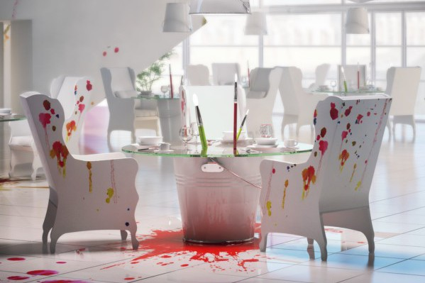 Pracownia, salpicones de pintura decoran un restaurante diseñado por el estudio polaco Wamhouse.