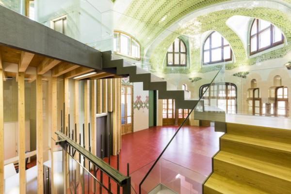 Detalle escalera reconstruccion Hospital de Sant Pau