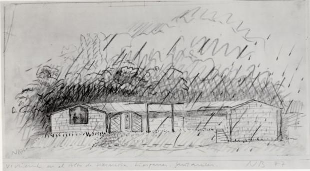 Casa de la Lluvia. Croquis de 1977