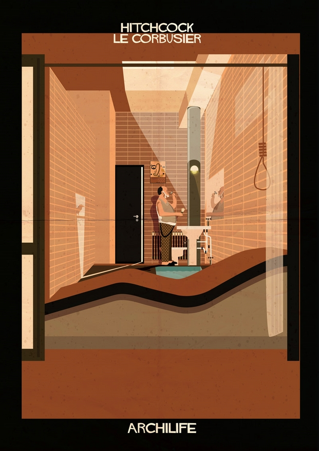 hitchcock le corbusier ilustraciones de Federico Babina Brando archilife diariodesign