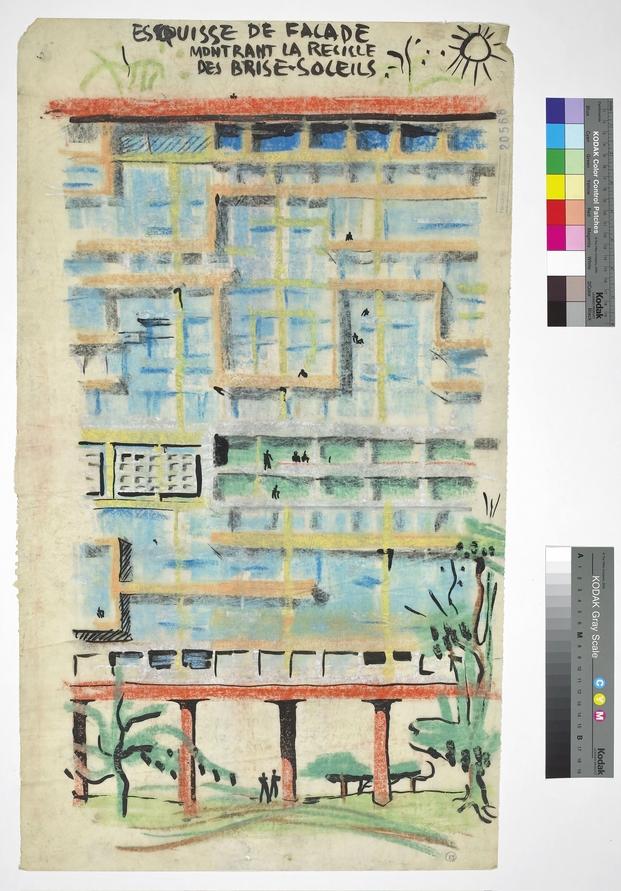Le Corbusier, Unités d'habitation, recherches – façade partielle, 1944. © FLC, ADAGP, Paris 2015
