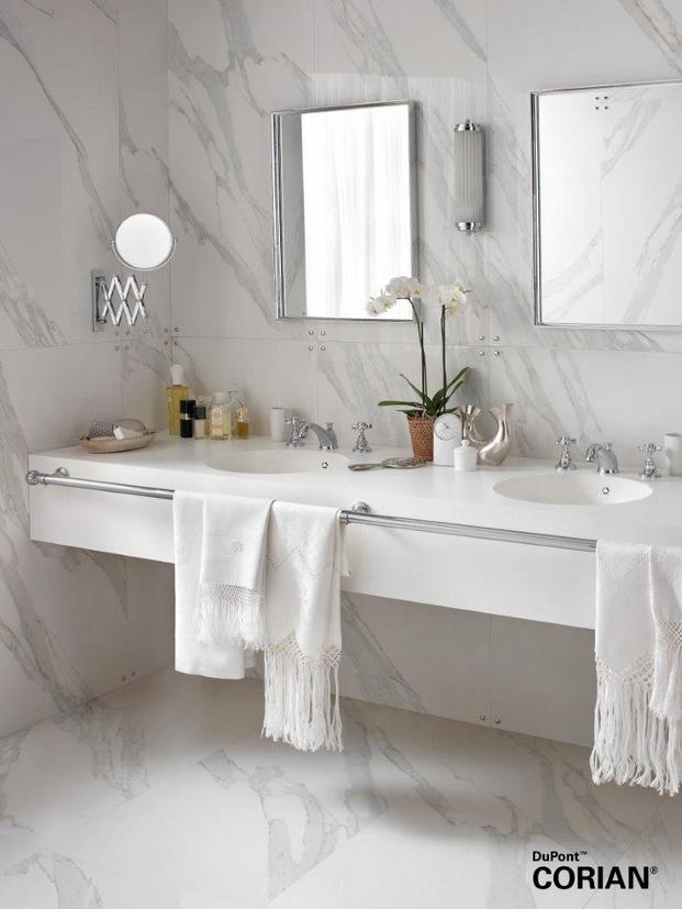 El modelo en blanco Corian® Purity, perfecto para ambientes minimal.