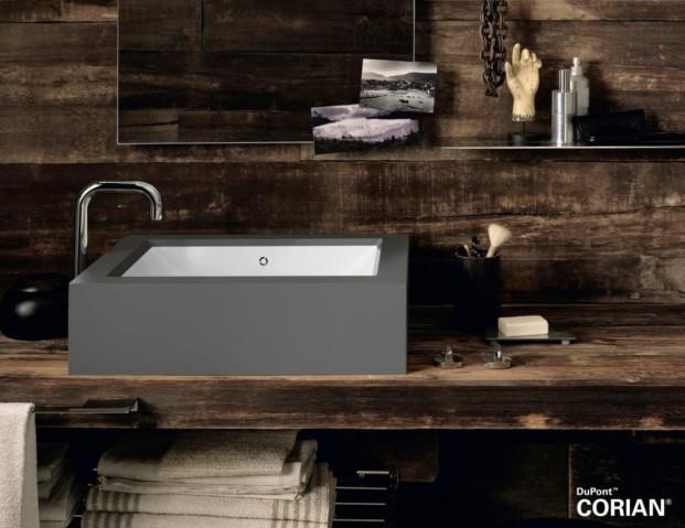 Lavabo  Corian® Refresh encajado en el nuevo gris Corian® Deep Cloud.