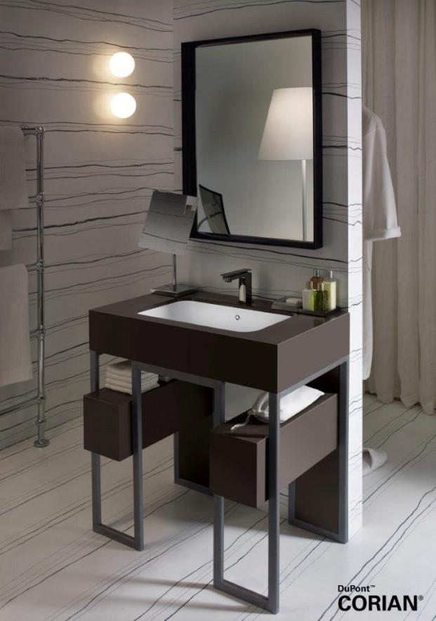 Lavabo Corian® Serenity instalado en un marco de acero y Corian® en Deep Sable.