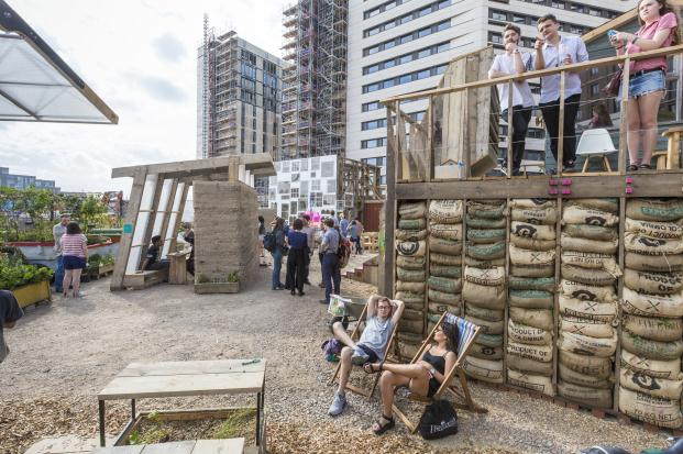 Opening event for the Bartlett architectectural students who designed and built new structures for the relocated Skip Garden at King's Cross