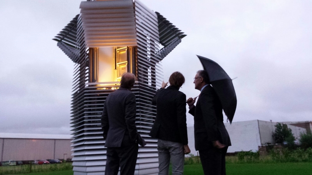Aboutaleb and Daan Roosegaarde opening Smog Free Tower Rotterdam