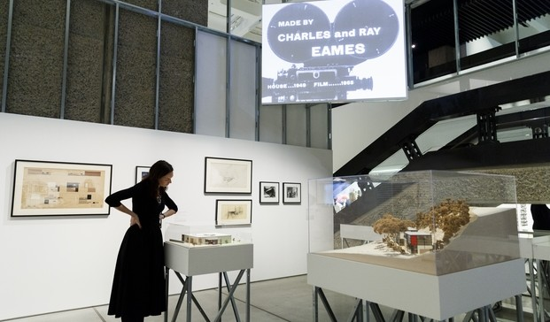 LONDON, ENGLAND - OCTOBER 20: A general view at The World of Charles and Ray Eames exhibition at the Barbican Art Gallery at Barbican Centre on October 20, 2015 in London, England. The World of Charles and Ray Eames exhibition runs from 21 Oct 15 - 14 Feb 16. (Photo by Tristan Fewings/Getty Images for Barbican Art Gallery)