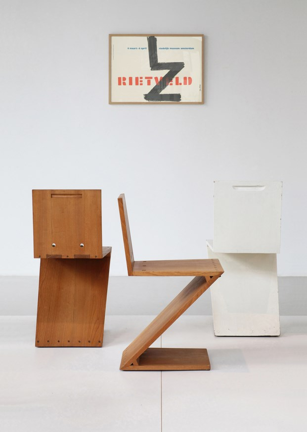 Chairs by Gerrit Rietveld at Galerie VIVID