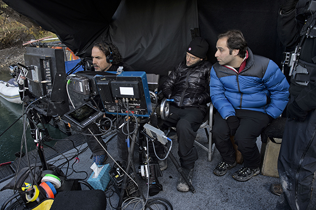 "Mentor Alejandro González Iñárritu (left) and protégé Tom Shoval (right) in Alberta, Canada, during filming of the mentor's new film, ""The Revenant""."