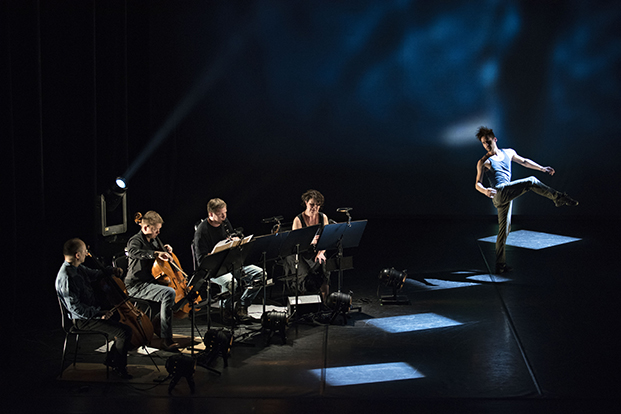 "In the Almi Hall at the Finnish National Opera in Helsinki, musicians and a dancer rehearse ""Adultery"", a composition by protégé Vasco Mendonça with choreography by Diana Theocharidis."