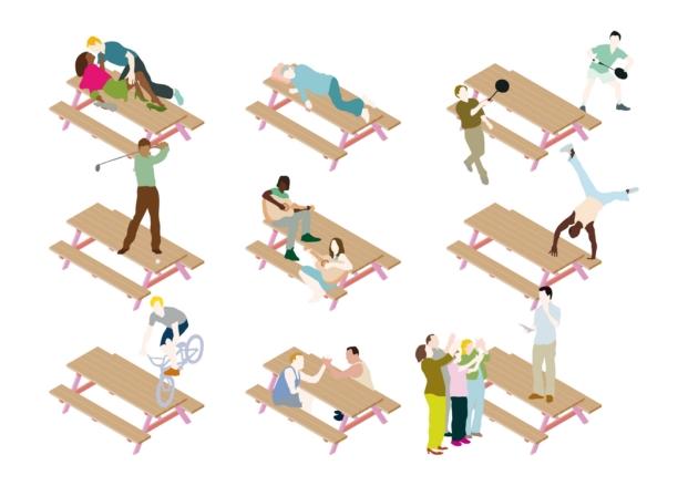 mesas de picnic mobiliario urbano en Rennes de enorme studio diariodesign