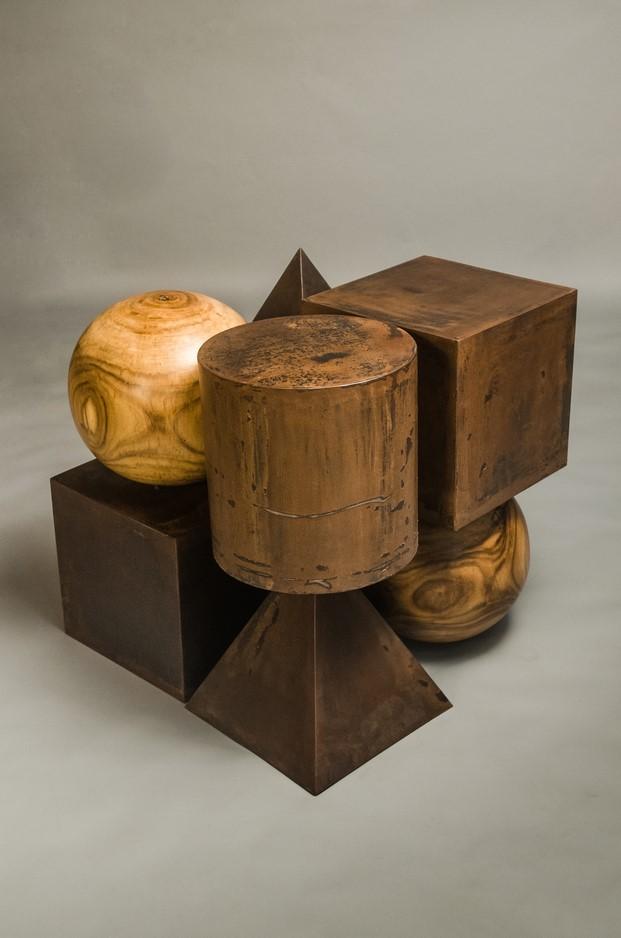 Pakistan Platonic forms made in M.S rust finish with solid sheesham wood (rose wood). Photo - Mustafa Mehdi