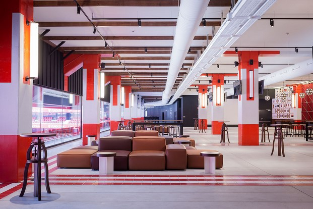 colores rojiblancos en la sala vip del estadio san mamés