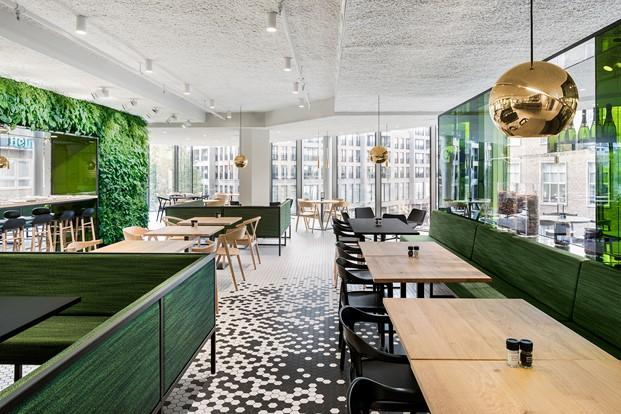 restaurante the kitchen Utrecht diseno en verde en los almacenes Bijenkorf diariodesign