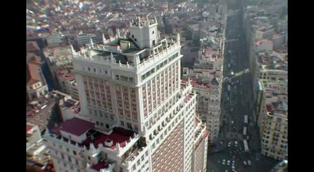 Edificio España  Fotograma perteneciente a la película de Víctor Moreno expo sobre arquitectura madrileña en CentroCentro