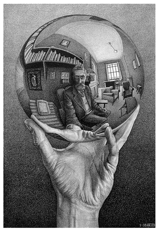 Mano con esfera reflectante, 1935