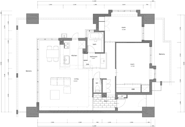 plano de apartamento en japon de ALTS DESIGN OFFICE