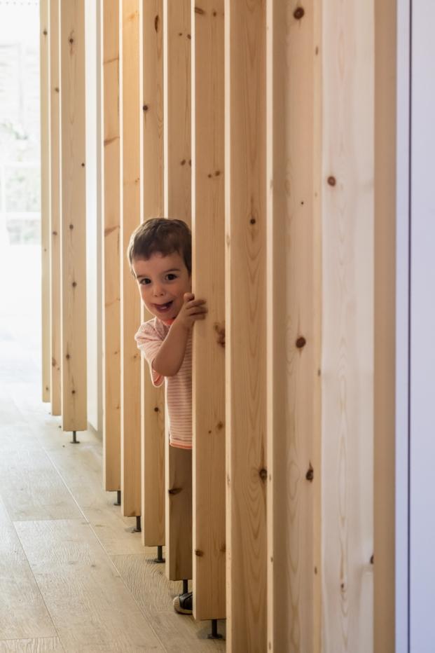 estructura de madera de una reforma en barcelona en gracia