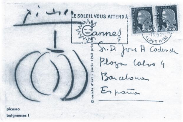 Postal que Pablo Picasso a Coderch en recordando a coderch