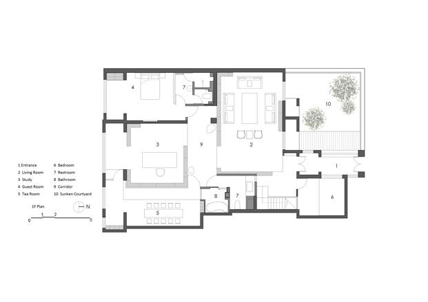 Planta primera plano casa de madera en Pekin de archstudio diariodesign
