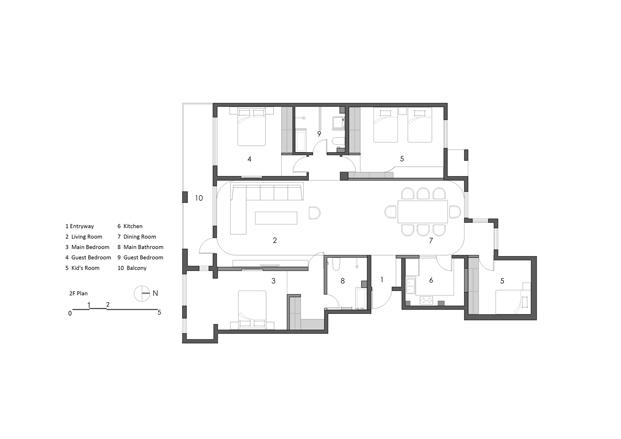 Planta segunda plano casa de madera en Pekin de archstudio diariodesign
