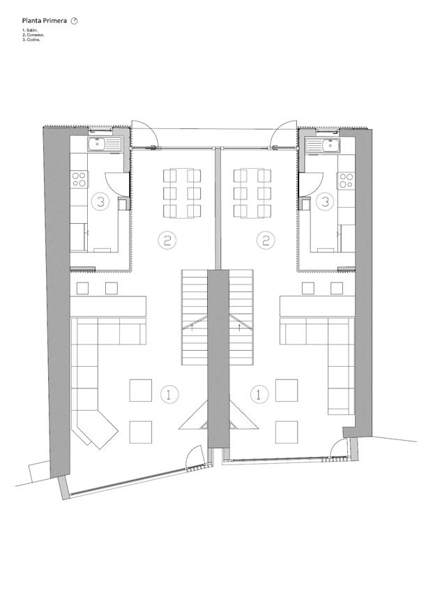 Planta primera reforma en a coruna de diaz diaz arquitectos