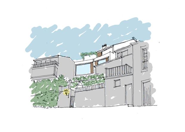 esbozo Viviendas Redes de Diaz y Diaz Arquitectos en A Coruna