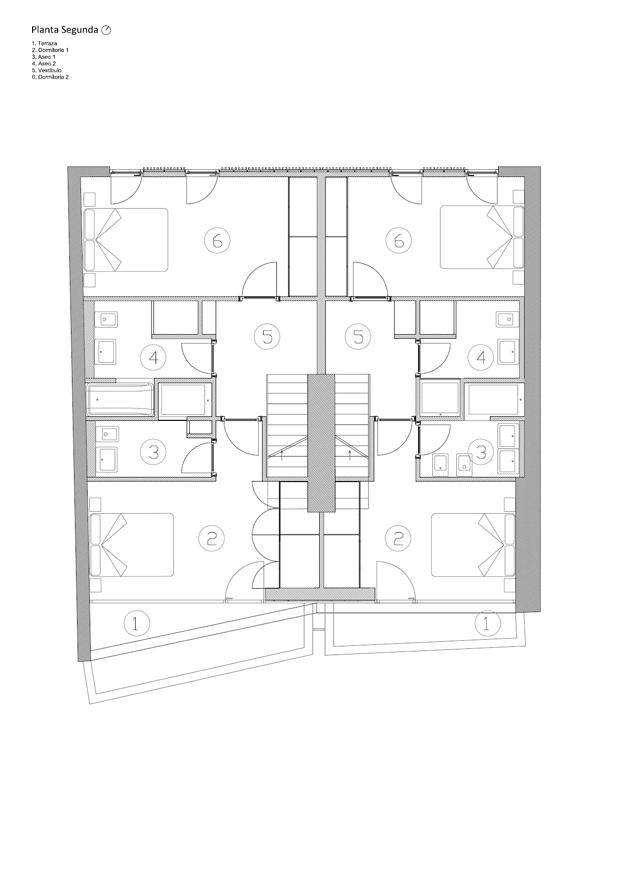 Planta segunda rehabilitacion en a coruna de diaz diaz arquitectos