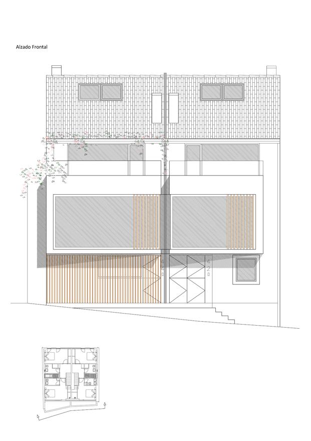Alzado principal rehabilitacion en a coruna de diaz diaz arquitectos