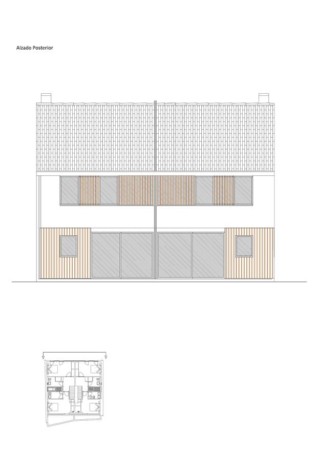 Alzado posterior rehabilitacion en a coruna de diaz diaz arquitectos
