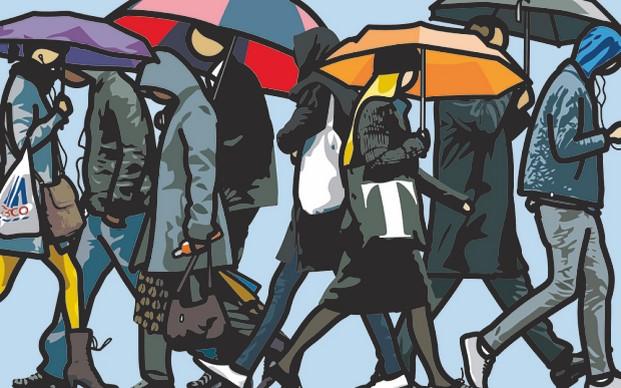 at six Julian Opie and Alan Cristea Gallery Walking in the rain London.