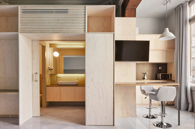 rehabilitacion en barcelona de un apartamneto hotel por el diseñador Tomas Lopez Amat y Gorka Marcuerquiaga en barcelona diariodesign