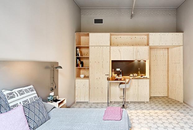 dormitorio de aparthotel rehabilitado en barcelona en diariodesign