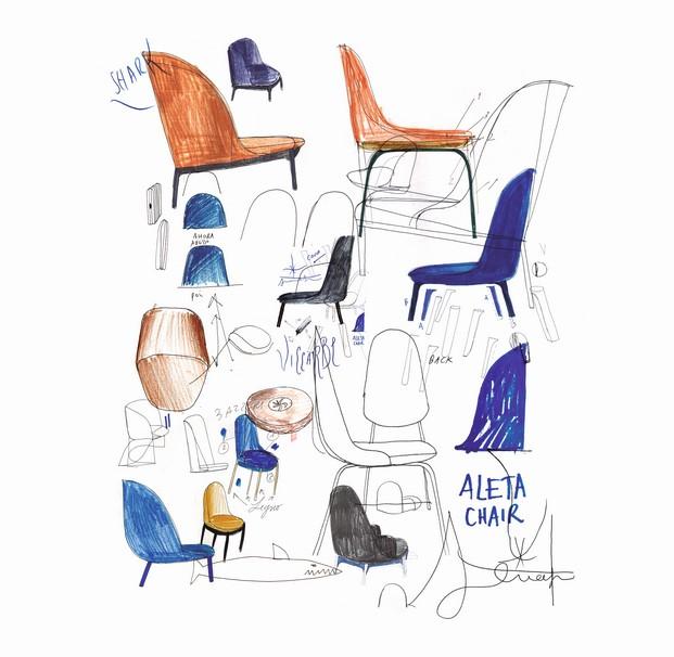 aleta sillas hayon dibujos viccarbe