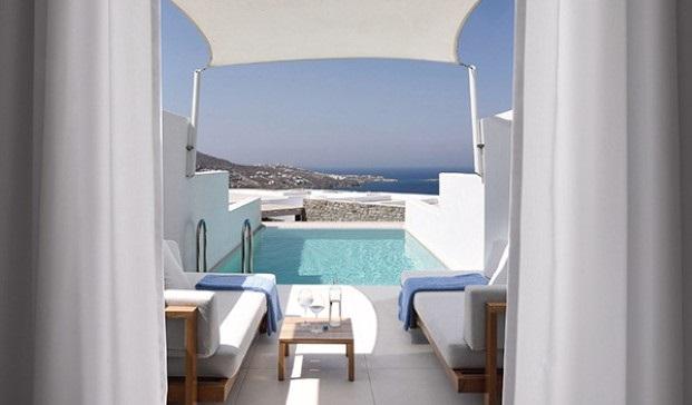 hotel Myconian Kyma lujo y tradicion en Grecia miconos  piscina Diariodesign