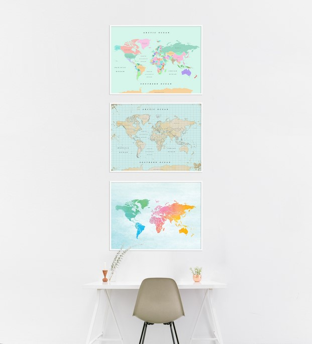 mapa vintage de pared miss wood woody maps color