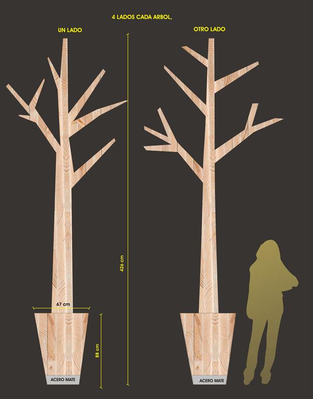 diseño arboles de madera de local gourmet deputurru